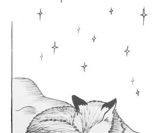 Foxy Stars postcard