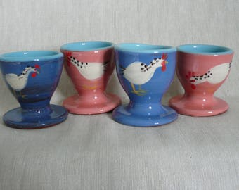 Egg cups  Pottery egg cups. Set of four egg cups. Chicken egg cups. Egg cups in blue or pink.