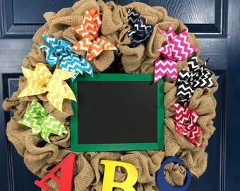 Chalkboard and ABC Burlap Wreath