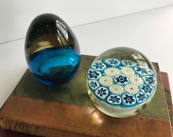 Pair of Vintage Glass Paperweights, Blue Paperweights, Murano glass, Desk Accessories, Vintage desk, Vintage Office, Blue and white