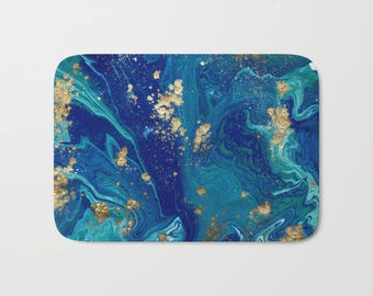 Navy Blue Abstract Bath Mat, Blue Watercolor Shower Mat, Beautiful Blue Shower Mat, Blue Bathroom Decor, Unique Bath Mat, Artistic Bath Mat