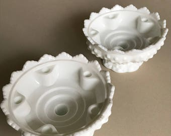 2 Fenton Hobnail Milk Glass 6 Candle Holders--1970s