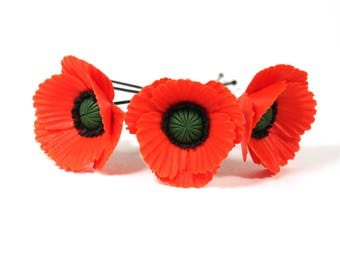 Poppy Hair Pins, Poppy accessory, Poppy jewelry, Red Poppies, Flower Hair pins (price for 1 hair pin)