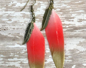 Red - Pink feather earrings, Gold and pink feather, Long earrings, Dangle earrings, feather earrings, Handmade jewelry, Real feather jewelry