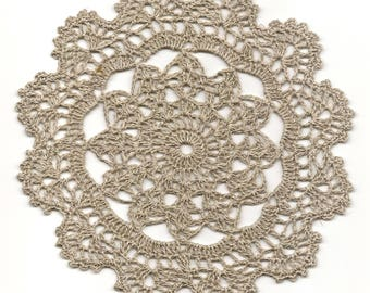 Eco Friendly Crochet Doily Lace Lacy Doilies Elegant Linen Table Decor French Romantic Shabby Chic Wedding Retro Vintage Natural Light Grey