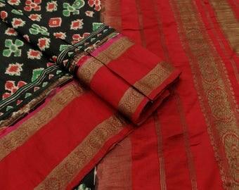 Indian Vintage Floral Printed Black Saree 100% Pure Silk used Sarong Sari Craft Fabric 5 YD VPS48287