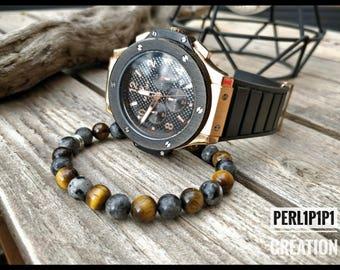 Simply set the Tiger eye Beads & Labradorite bracelet