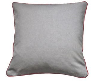 Pillow cover Gray 40 x 40 cm canvas with red piping upholstery
