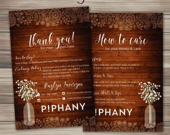 Piphany Thank you Care Card, Piphany Instruction Card and Thank You card, Fast Free Personalization, Digital File