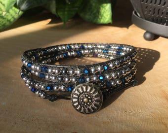 Wrap leather, blue glass and hematite bracelet
