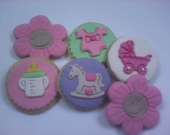12 Baby Girl Cookie Assortment Party Favors Baby Shower Favors Decorated Cookies Baked Goods Cookie Gifts Sugar Cookies Baby Shower Gifts
