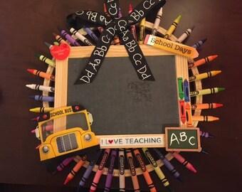 Crayon Chalkboard Wreath