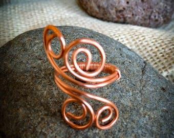 Swirly adjustable copper ring