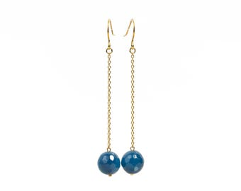 Earrings in silver plated fine 925 sterling silver or gold and blue agate
