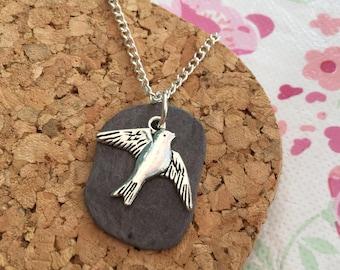 Slate Necklace, Bird Necklace, Cornish Treasure