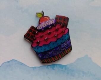 Decadent Cupcake Brooch