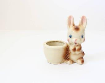 Succulent Planter | Succulent Pot | Valentine Gift | Vintage Planter | Flower Pot | Bunny Figure | Cute Planter | Succulents | House Plant