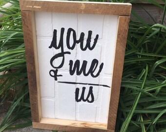 "Wall Decor l You+Me=Us l Wood Signs l Custom Signs l 12""x15"" l Home Decor l Wedding Gift"