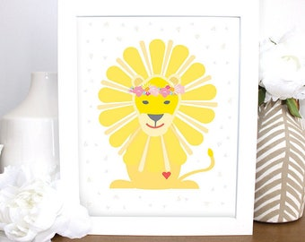Darling Lion with Flowers, Childrens Wall Art, 8x10 Printable, Baby Gift, Nursery, Kids Wall Art, Baby Shower Art, Gender Neutral Baby Gift