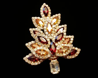 Large Red/Yellow/Clear Crystal-Rhinestone Christmas Tree Brooch
