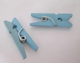 x 10 pinces à linges en bois peint 26 x 8 x 3 mm bleues