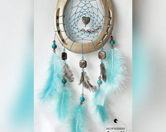 Horseshoe Dream Catcher in gold-turquoise-Brown