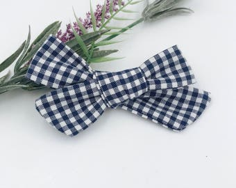 Baby Girl hand tied Bow - Nylon Headbands - Hair clip - Infant / Toddler /  Fabric Hair Bows / Clips - navy checks