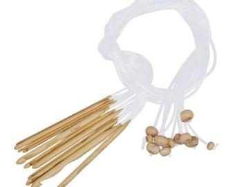 12 Sizes Crochet Needles Bleached Bamboo 3,0-10,0 mm