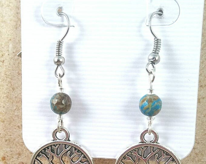 Small dangle tree of life earrings with sea jasper, Silver Tree Earrings, Tree of Life Jewelry, Celtic Earrings, Natural Stone Jewelry