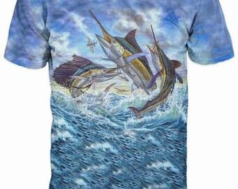 New Ultramodern 3D Printed High Quality Swordfish Men's Blue T-shirt