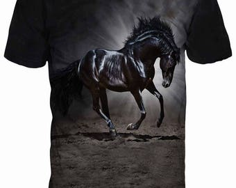 New ultramodern 3D  High Quality  Print Mustang Horse Real Nature short Sleeve t-shirt