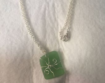 Green Sea Glass Necklace on a Silver Cable Chain