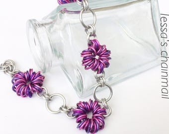 Chainmaille bracelet, pink bracelet, purple bracelet, chainmaille jewelry, flower jewelry, pink jewelry, Tessa's chainmail.