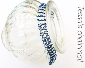 Blue with silver bracelet, minimalist bracelet, blue bracelet, silver bracelet, blue with silver jewelry, Tessa's chainmail