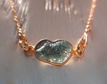 Rough Blue Conflict Free Diamond on a Sterling Silver Rose Gold Plated Pendant Necklace ~ 10mm x 6mm Rough Blue Diamond