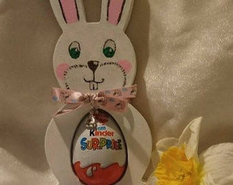 Wooden, hand painted / wood burnt Kinder Egg Holder - Various Colours - personalised - perfect Easter gift - Egg not included