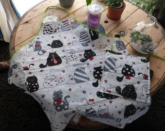 """""""Cats"""" apron and Potholder"""