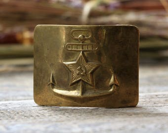 Soviet military belt buckle Soviet army uniform badge Navy buckle Anchor decor Steampunk clothing gift for him Buckle vintage Nautical decor