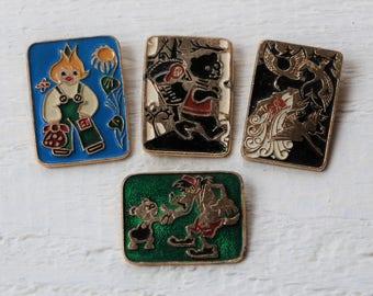 Cipollino pin Russian tale pin vintage Enamel pin Set of 4 Colorful pin Soviet era Cartoon pin Big pin Sale vintage Pins and badges vintage