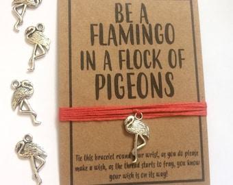 Flamingo pigeon friendship wish charm bracelt