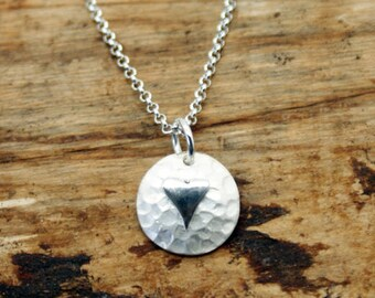 Sterling Silver Planished Pendant with Polished Heart  (YP002)
