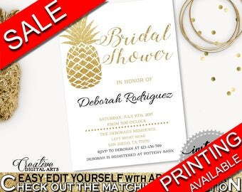 Invitation Bridal Shower Invitation Pineapple Bridal Shower Invitation Bridal Shower Pineapple Invitation Gold White party decor 86GZU