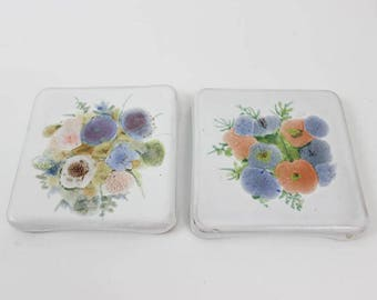 Floral Tile Coasters for Drinks, Coasters Ceramic, Drink Coasters Tile, French Vintage Coasters Ceramic, Pastel Colors Flower Coasters E289