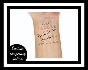 Custom Temporary Tattoo Bachelorette Party Custom Temporary Tattoos bachelorette party, gold tattoo, bridesmaid gift, personalized, hen
