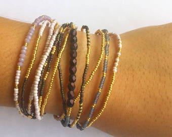 One-of-a-kind Handmade Beaded Wrap Bracelet