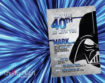 May the fortieth 40th be with you Star Wars Birthday Printable Invitation, Jedi Master, Star Wars,May The Force Be With You,Jedi,Darth Vader