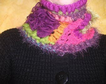 "Neck-warmer ""Vitamins"" free-form crochet collar"