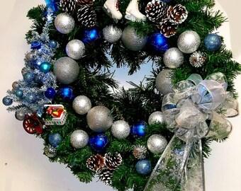 Handmade Christmas wreath with a Christmas tree