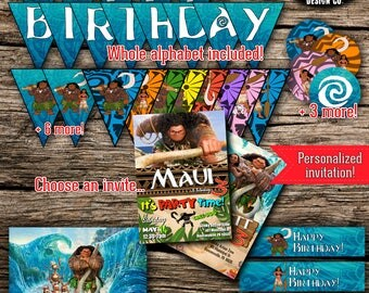 Moana Maui Birthday Party Pack Bundle Disney Vaiana Birthday Boy Girl Decor Kit Instant Download Printable Personalized DIY Poster Invite