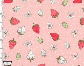 Michael Miller Fabrics - Fraises Strawberry from the collection Strawberry Tea by Axelle Design - 100% Cotton - 13 Yards Available
